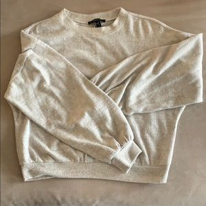 Forever 21 cream cropped sweater/sweatshirt